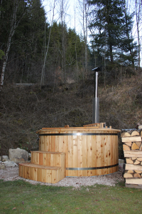The Hot Tub: The wood fired hot tub in the garden